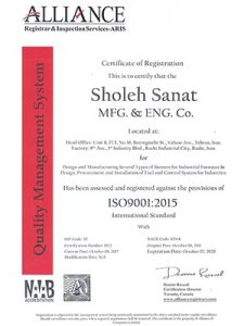 شرکت تولیدی و مهندسی شعلهصنعت دارای گواهی مدیریت کیفیت ISO 9001:2015 میباشد.